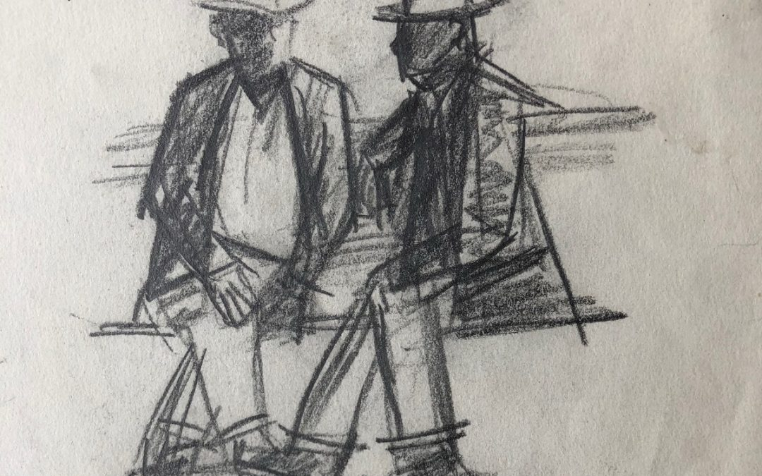 Two Seated men Both Wearing Hats (b&w sketch)