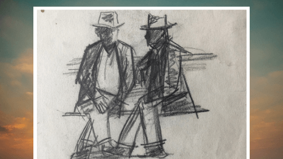 Two Seated Men Both Wearing Hats